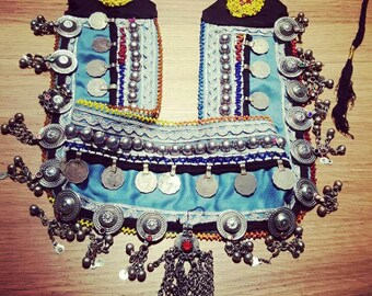Afghan coins, studs, beads and pieces hanging metal belt. Kuchi afghan belt with coins and beads.