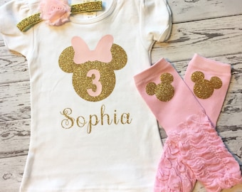 Pink and Gold Personalized Minnie Mouse 3rd Birthday Shirt, Minnie Mouse 3rd Birthday Outfit, Pink & Gold Minnie Birthday, Pink Legwarmers