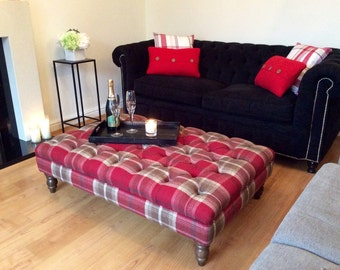 Handmade Deep Buttoned Footstool - In Porter & Stone Balmoral Tartan Fabric - Choice of 12 colours