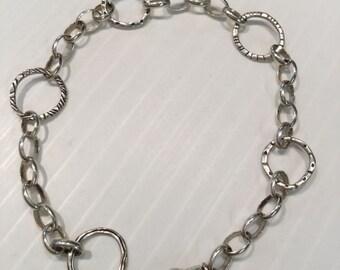 """Silpada Sterling Silver Charm Bracelet 8 1/2"""" Or Shorter Extra Lobster Anklet"""