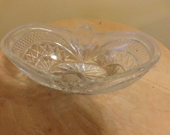 EAPG Curved dish, Rare EAPG dish, tableware, vintage cut glass, 1900's dish, antique dish, antique candy dish
