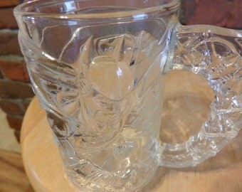 "1995 McDonald's Collectible ""Batman Forever "" Clear Glass Mug, Batman Mug, McDonalds Batman mug, Batman DC Comics."