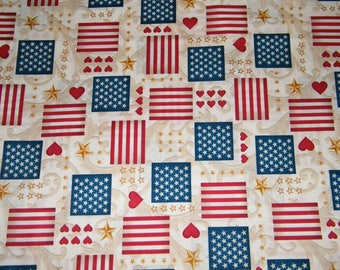 BTY Red, White, Blue HEARTS & FLAGS Print 100% Cotton Quilt Crafting Fabric by the Yard