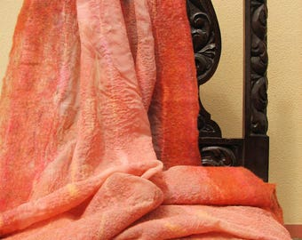 """Hand felted scarf of merino wool and silk """"Pink silk""""/ Worldwide Free Shipping /"""