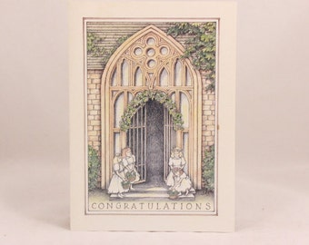 Among Friends Greeting Cards. One Card and Envelope. Wedding Congratulations