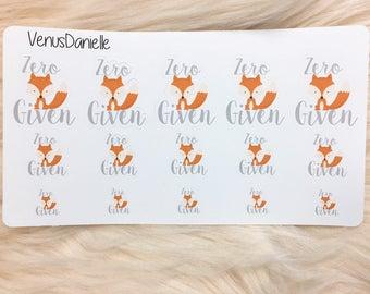 Zero Fox Given Planner Sticker, Zero Fox Given Stickers, Fox Planning Stickers, Animal Stickers, Planner Stickers, Planning Accessories