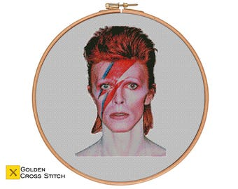David Bowie Cross Stitch Pattern - who is your idol? - Modern Cross Stitch Pattern PDF - Cross Stitich Portrait - Instant Download