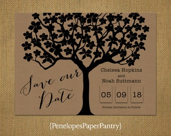 Kraft Paper Save The Date Card,Rustic,Oak Tree,Cursive Script,Spring or Summer Wedding,Customize,Personalize,Printed Cards,Kraft Envelopes