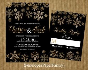 Black and Gold Snowflake Wedding Invitation,Gold Glitter Print Snowflakes,Black,Shimmery,Elegant,Traditional,Custom,Printed Invitations