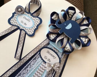 Navy blue and light blue elephant baby shower corsage set/Elephant baby shower Mommy to be and Daddy to be cirsage set