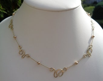 Necklace in 585-er gold with Freestyle elements, unique! Designer piece!