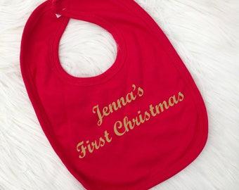 Personalised 1st Christmas Bib, First Christmas, Baby Christmas Gift, Baby Bib, UK