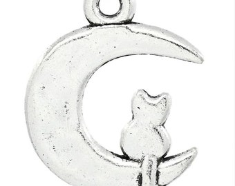 Charms - 10 Silver Cat Charms - Cat Sitting on Crescent Moon Charm - Cute Charms For Jewelry Making - Cat Lovers Charm For Jewelry - CH-S006