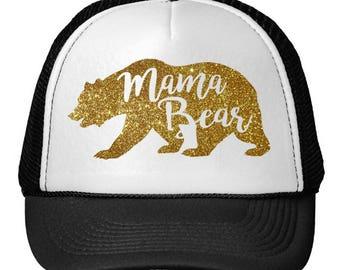 Mama Bear Trucker Hat Glitter