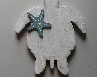 Reclaimed Wood Sea Turtle with Starfish Accent Wall Decor