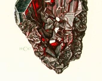 1970 Vintage Proustite Illustration.  Red Metallic Silver Mineral Ore Prints. Rocks Gemstone Minerals  Framing home decor