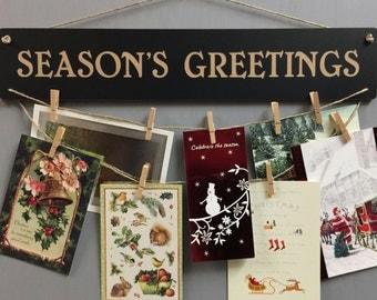 Season's Greetings Chalkboard Christmas Card Holder