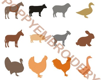 FARM animal Design for Embroidery machine / animaux ferme motifs pour broderie machine / INSTANT DOWNLOAD