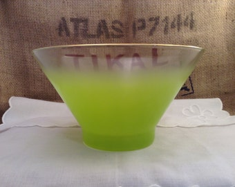 Large Green Frosted Serving or Punch Bowl with a gold rim