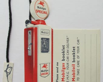 Wonderful early advertising bookmark  for Mobilgas - in the shape of a petrol pump.