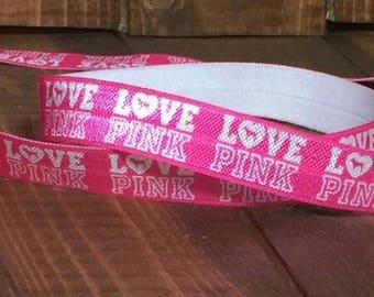 Fold over elastic Love Pink Victorias Secret 5/8 inch