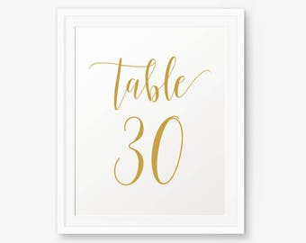 Wedding Gold Table Numbers 1-30 printable, Wedding Table Numbers, Calligraphy Table Numbers. Printable Gold Table Numbers 5 x 7