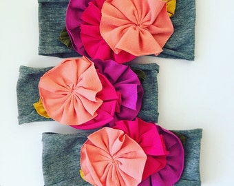Flowered jersey knit headband || multi pinks