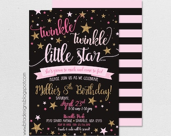 Twinkle, Twinkle, Little Star Birthday Party Invitation 1 With or Without Photo, Customized, Digital File