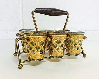 Culver Valencia Pattern Shot Glass Set Barware Vintage Mid Century 6 Glasses Rack  22k Gold