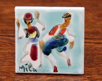 "Hand Painted Mila 3"" Art Tile | Traditionally Dressed Men Folk Dancing | Croatian Folk Art | Signed Mila, Dubrovnik Croatia 1955 | Nice!"