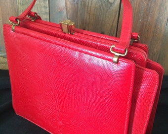 Nicholas Reich Vintage Red Top Handle Handbag Leather Purse