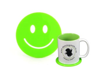 Smiley Face Emoji Coaster in Green