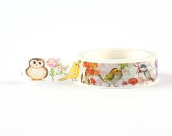 Birds and Flowers Washi Tape - Nature lover decorative masking tape, 10 meter, littleleftylou
