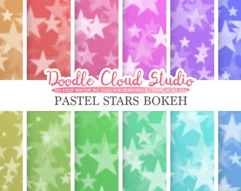Pastel Stars Bokeh digital paper, Pastel colors Bokeh Overlay, Star Bokeh backgrounds, Instant Download, for Personal & Commercial Use