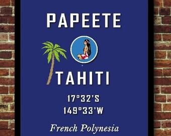 Tahiti Papeete Bora-Bora Polynésie poster affiche vintage décoration voyage