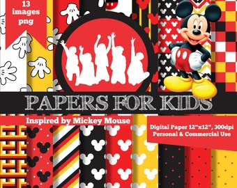 Digital Papers, Mickey Mouse, Kids, Invitation, Background, Birthday, Clip art, Papers for Kids