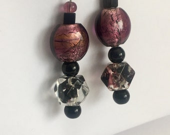Purple and black glass earrings