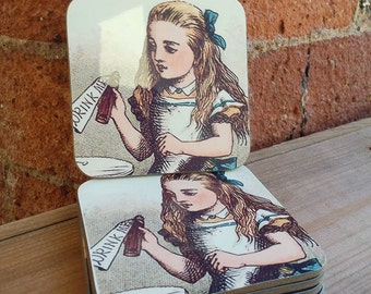 Set of 4 - Alice in Wonderland Coasters - Kitsch Retro Handmade
