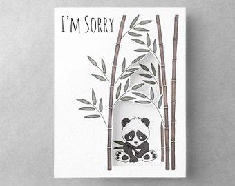 Sorry card | Sympathy card | Cute panda bear card | Apology card | Sad panda | Card for girlfriend | I'm sorry card | 3D card