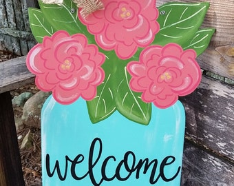 Flowers in mason jar, spring door hanger