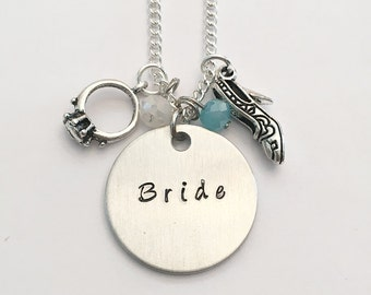Bride Wedding Bridal Bridesmaid Maid Matron of Honor Bride Tribe Bachelorette Party Hand Stamped Charm Necklace