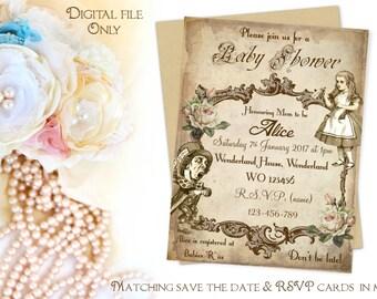 Digital Floral Personalised Alice in Wonderland Baby Shower Invitations - Printable,Download, Tea Party