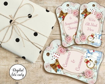 Digital Alice in Wonderland Quote Tags, Hang Tags, Printable, Craft, Collage Sheet,Hang Tags