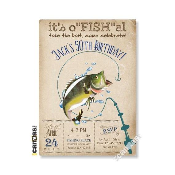 Fishing Invitation Surprise Birthday Big Mouth Bass Photo