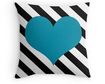 Blue Heart Pillow, Striped Pillow, Heart Pillow Case, Blue Heart Cushion, Black, White and Blue Pillow Case, Blue Bedding, Teen Decor