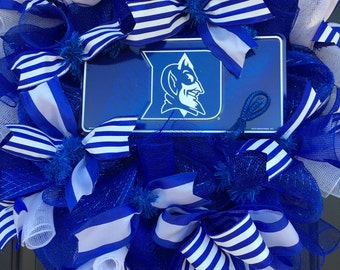 Duke, University,ACC Basketball,College Basketball ,College Sports,Deco Mesh,Duke Alumni,Door Wreath