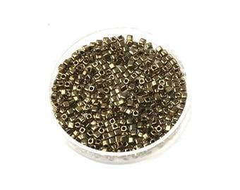 15 grams of beads Miyuki Cubes 1.8 mm metal dark Bronze