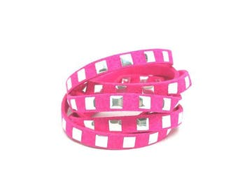 5 m suede Fuchsia with silver squares