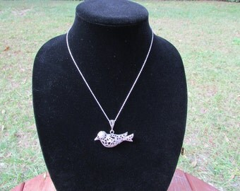 Unique Sterling Silver Filigree Bird Pendant Signed PK SS 925