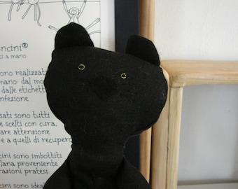 the black cat - puppet - doudou - fabric animals